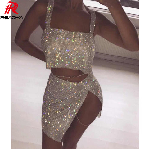 Chain Crystal Diamonds Backless Sequins Split Two Pieces Dress