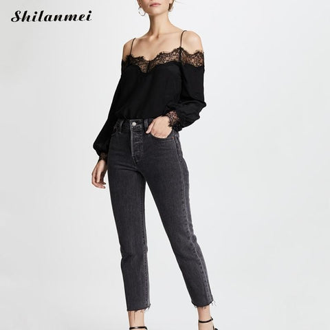 black Blusas Off Shoulder Slash Neck Lace Long Sleeve Tops Blouse