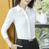 long sleeve chiffon slim blouse top