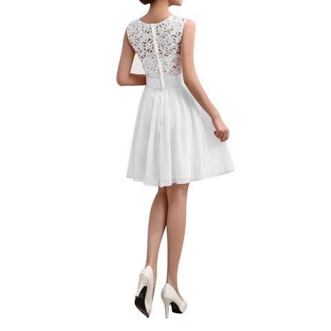 dress Summer Elegant Women Crochet Lace Chiffon