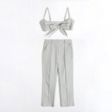Plaid Bow Two Piece Set Pants SE