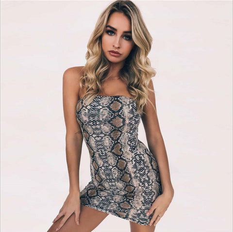 Summer Snake Print Shoulder Slim Dress