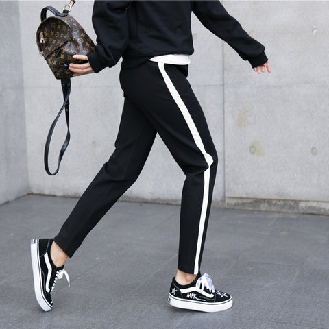 Pants Leather High Waist  Drawstring Loose