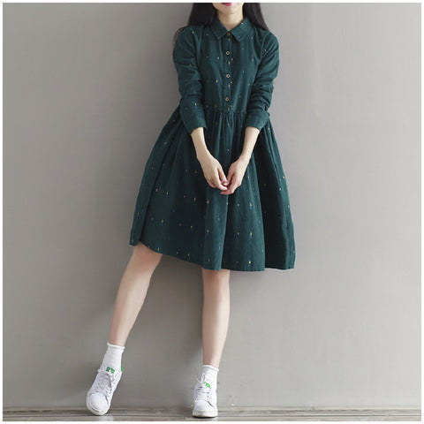 dress Vintage Women Loose Character Full Sleeve Casual