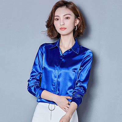silk satin button lapel long sleeve shirts Top Blouse