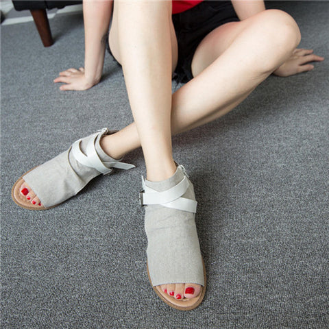 Shoes Summer Canvas Peep Toe