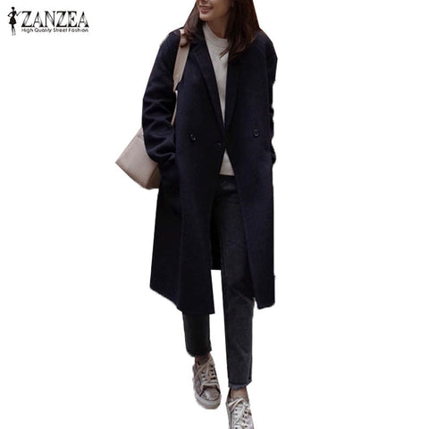 Long Sleeve Winter Pockets Long Outwear Coat PU22