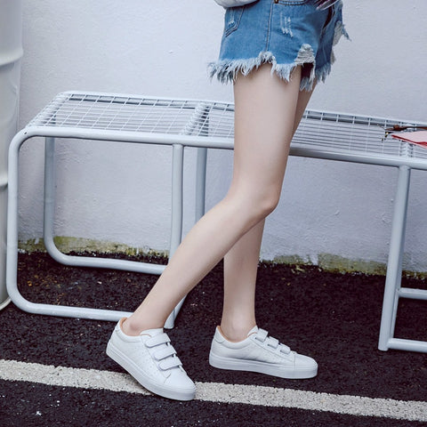 27b01003ad high platform hole PU leather striped simple white shoes sneakers ...