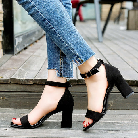 Strap Sandals Open Toe Chunky High Heels SE
