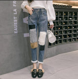 Faux Rabbit Fur Patchwork Denim Pencil Jeans Pants SE