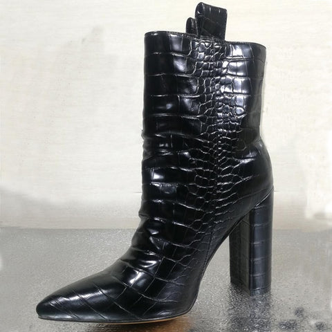 Pointed Toe Crocodile Leather Ankle Boots RI