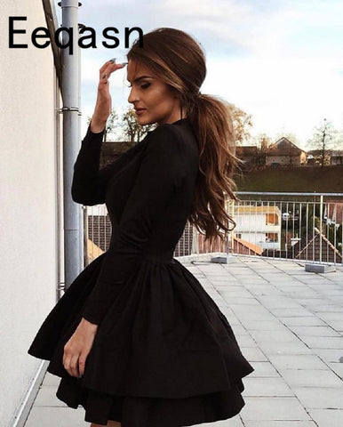 86409b6497a Black Long Sleeve Satin Mini Dress SE