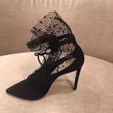 Black Mesh High Heels Pointed Toe Pumps Boots Shoes SE