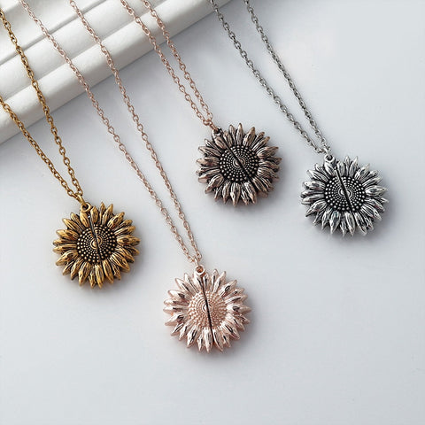 Gold Sunflower Pendant Necklace SE