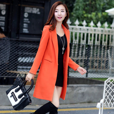de77f9614cb8 Slim Orange White Black Red Long Coat Blazer SE