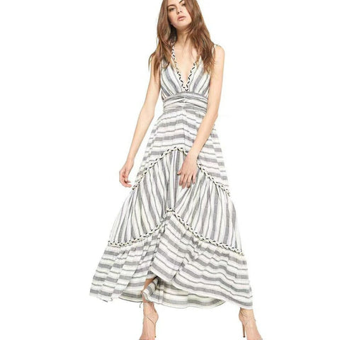 80bab585888b V-Neck Backless Striped Bow Tie Maxi Dress SE
