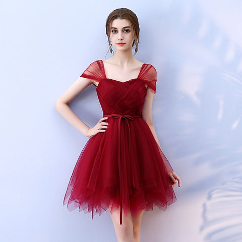 Red Strap Tulle Short Mini Korean Ball Gown Dress SE