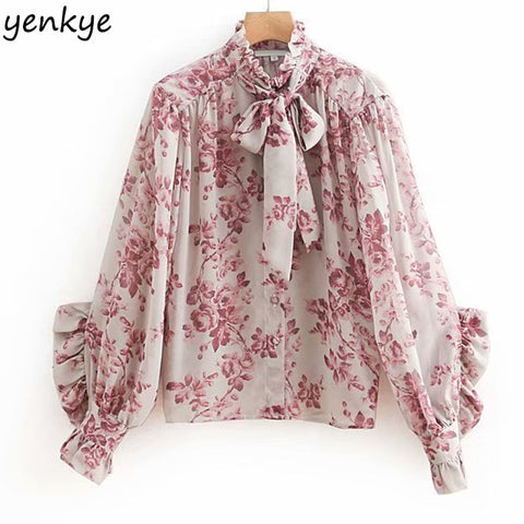 efbae1c83d6 Bow Tie Floral Butterfly Sleeve Top Blouse SE