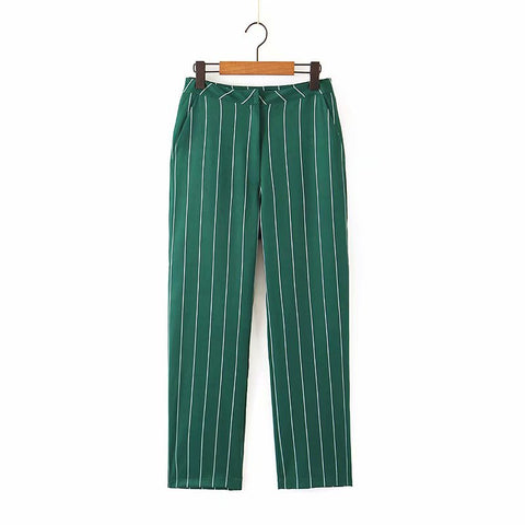 striped print green ankle length Pants SE