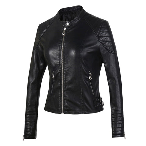 Zipper Leather Biker Brown Black Slim Motorcycle Jacket SE