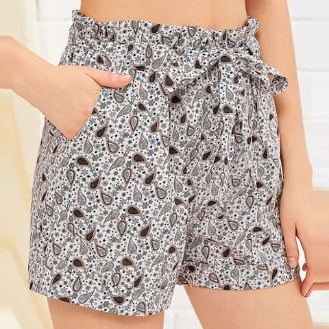 Pocket Casual High Waist printed Short Pants SE