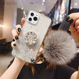 3D Diamond Holder stand Glitter Hairball soft phone case for iphone SE
