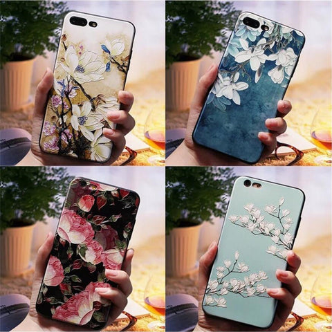 3D Emboss Flower Case For iPhone Silicone Protection SE