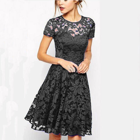 Women Elegant Sweet Hallow Out Lace Dress