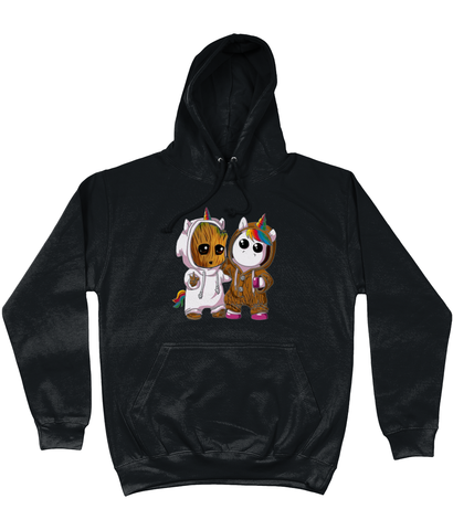 AWDis College Hoodie Unicorn And Groot T-Shirt