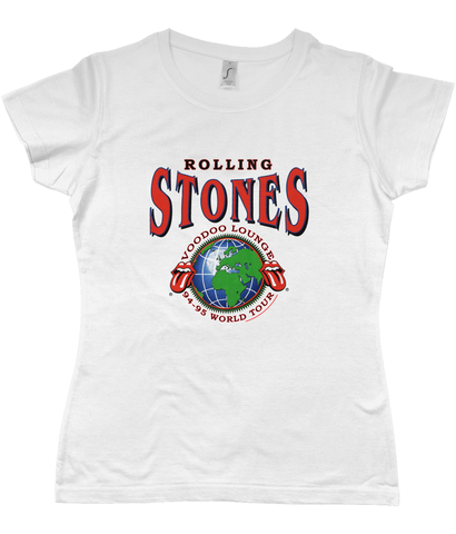 Sol's Ladies Imperial Heavy T-Shirt Rolling Stones Voodoo Lounge 94-95 World Tour Hoodie - M, White