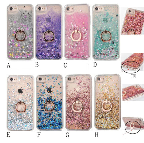 Bling Love Heart Glitter Stars Dynamic Liquid Quicksand plated Ring Grip  Stand Cover Phone Case For daeb12f0ddc7