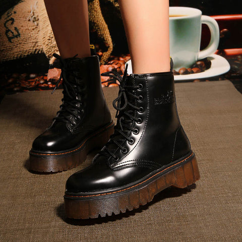 7a09880fe57 Black white red Platform Boots Punk Rock Motorcycle