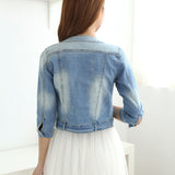 Jacket Women Slim Cotton Light Washed Short Jeans