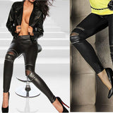 Pants Leather Leggings Stretch