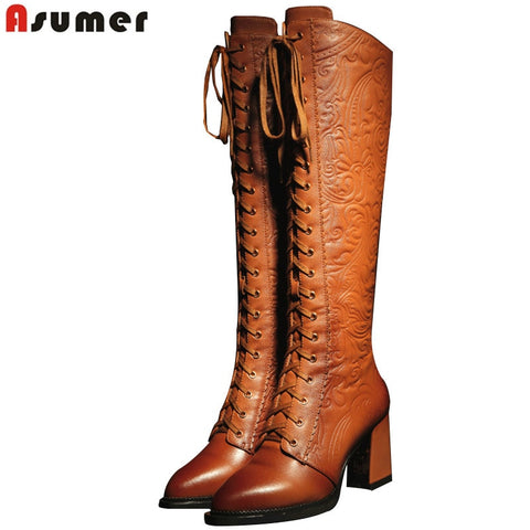 high heels pu+ genuine leather boots PU22