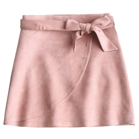 Sweet Pink Bowknot split layer Mini Skirt