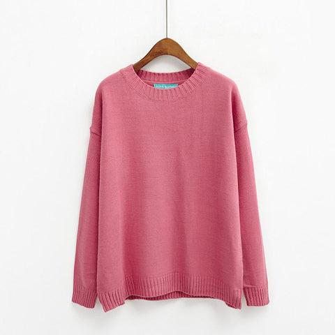 Loose O-neck Long Sleeve Sweaters