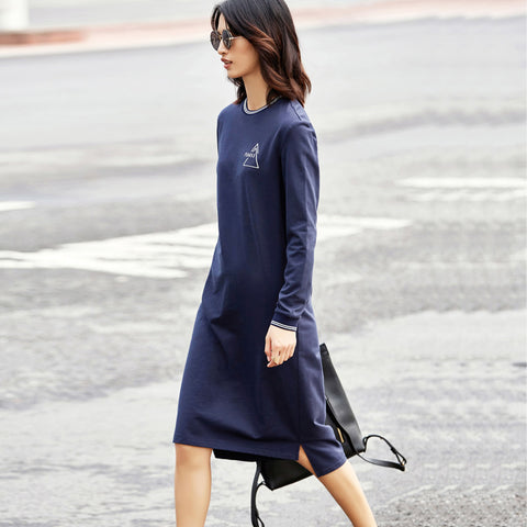 dress Minimalist Casual Women Long Sleeve