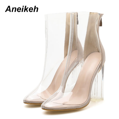 be4bee106025 Transparent Chelsea Chunky Heel Crystal Boots RI