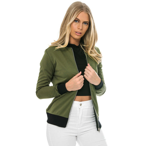 Jacket Women Color Block Patchwork Casual Slim