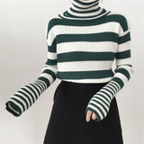 Turtleneck Striped Yellow Sweater SE