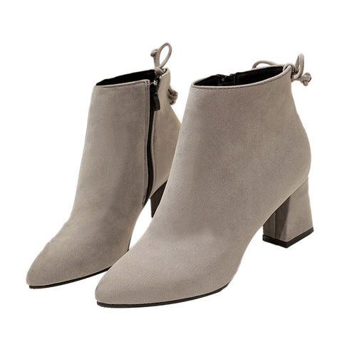 Shoes Woman Flock Suede Leather Boots Ladies Thick
