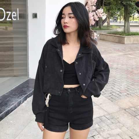 straight loose long-sleeved short jacket RI
