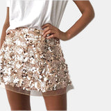 High Waist A-line Sequins Mini Skirts RI