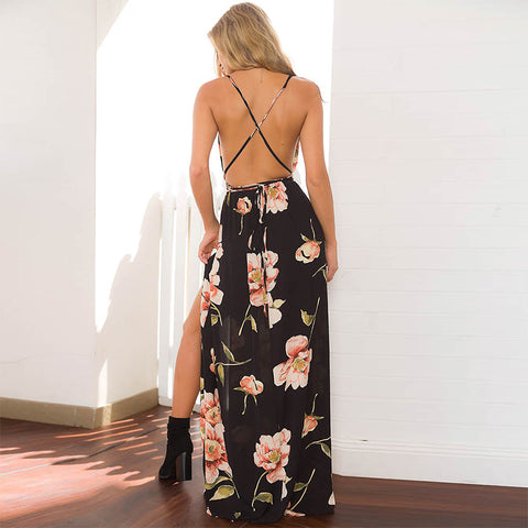 Dress Women Floral Print Dress V-Neck Sleeveless
