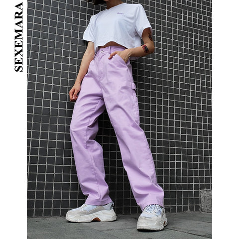 9ff3773da314 Purple Cargo Pocket Loose Trousers Pants SE