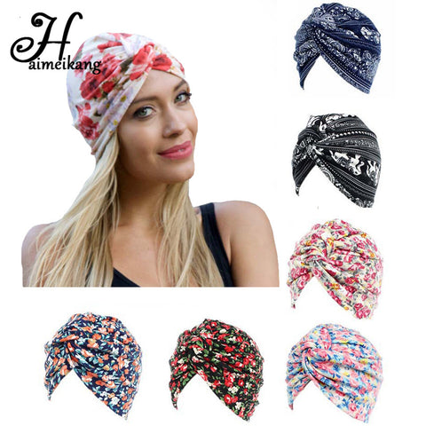 5c719c35 Bandanas Women Flower Printing Chemo Cap Turban Autumn Winter Cross Elastic  Headbands Hair Bands Head Cap