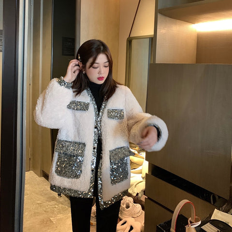 white Lamb Thick Loose Sequin pocket outwear Fur Jacket Coat SE