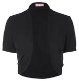 Jacket  Short Sleeve Black Shrug Bolero Casaco Feminino