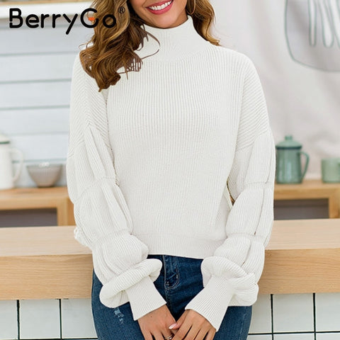 puff sleeve knitted turtleneck sweater RI
